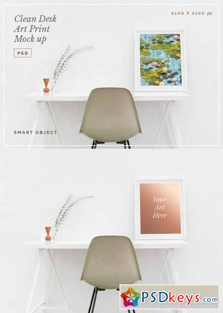 Clean Desk Art Print Mock Up PSD 477308
