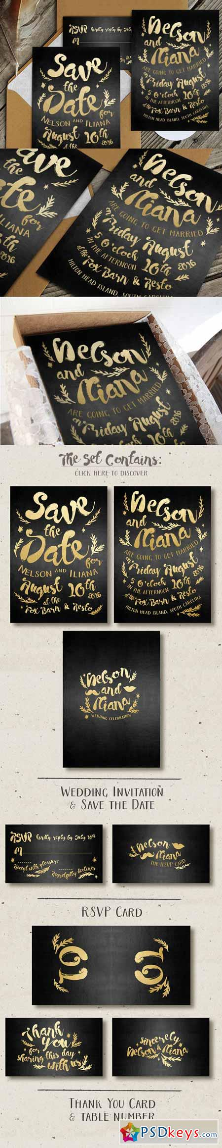Black & Gold Hipster Invitation 479574