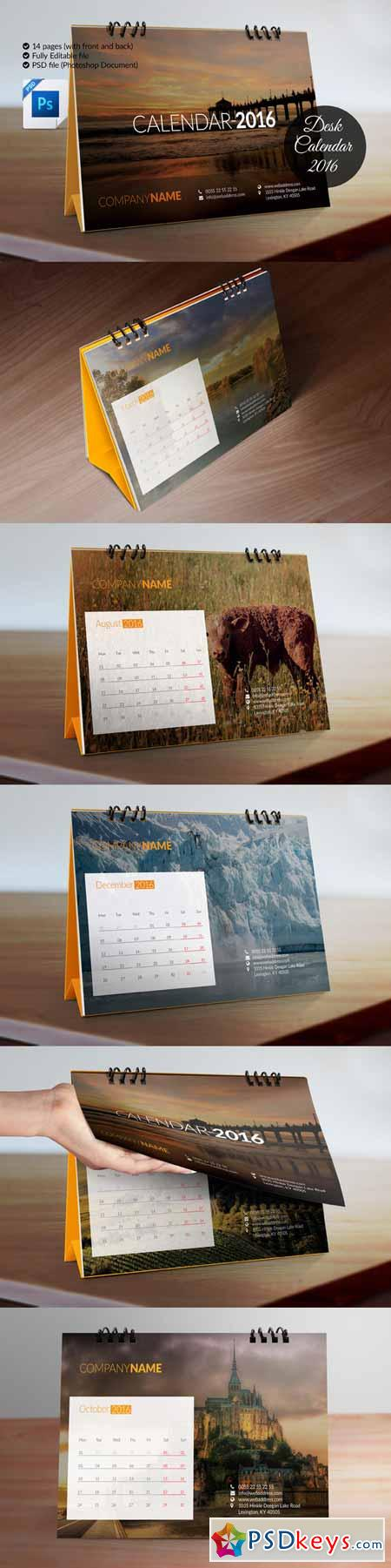 Desk Calendar (Template) for 2016 478531