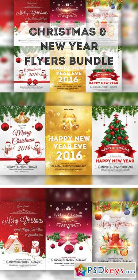 Christmas & New Year Flyers Bundle 478905