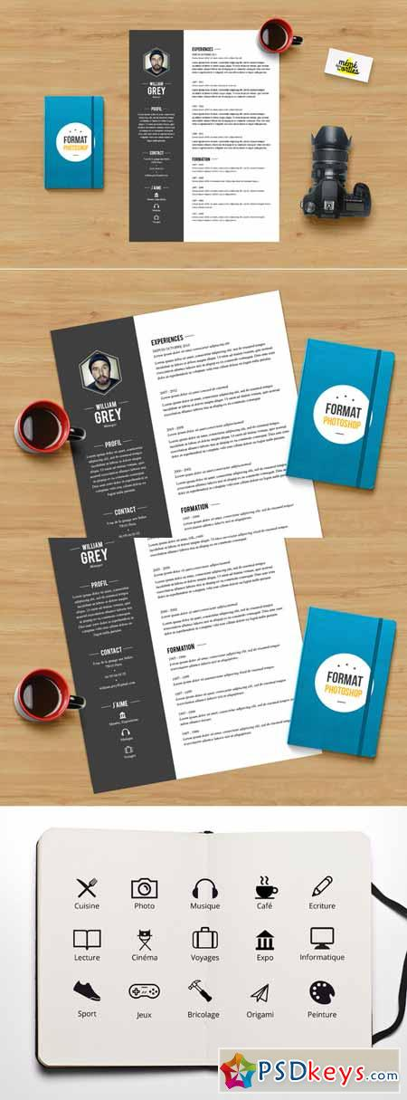 Grey - Resume template Photoshop 478913
