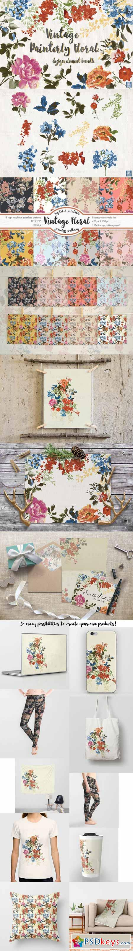 Vintage Floral Design Element Bundle 479306