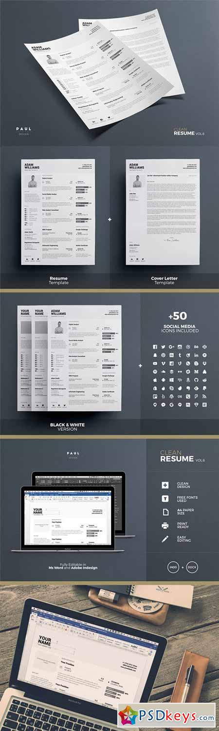 Clean B&W Resume - Indd + Docx 476244