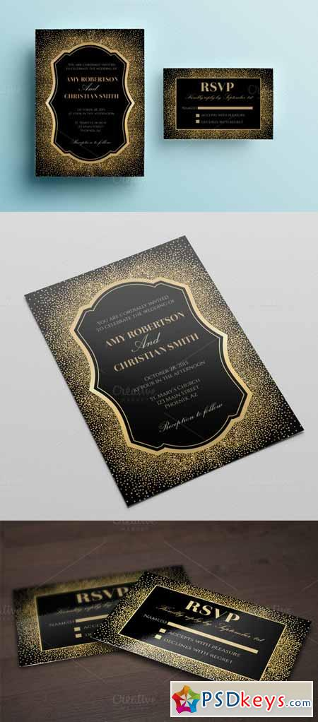 Gold glitter wedding invitation 482127