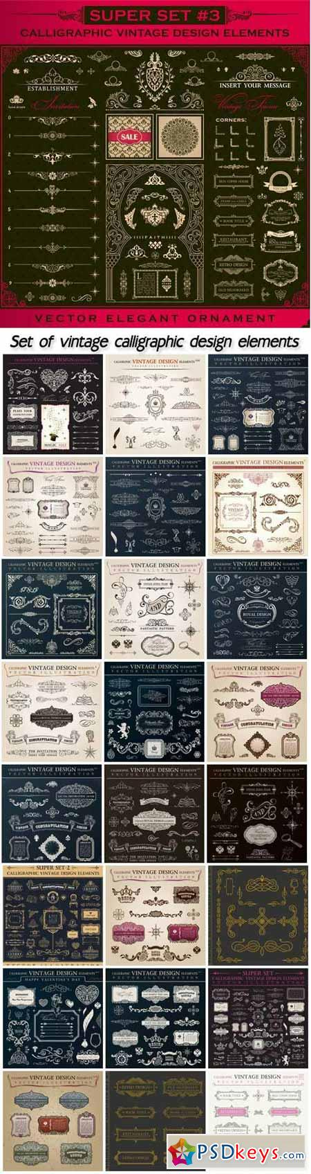Set of vintage calligraphic design elements in vector