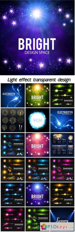 Realistic lens flare elements collection, light effect transparent design