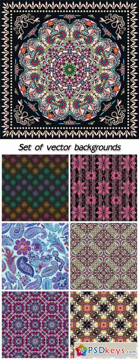 Set of vector backgrounds with patterns