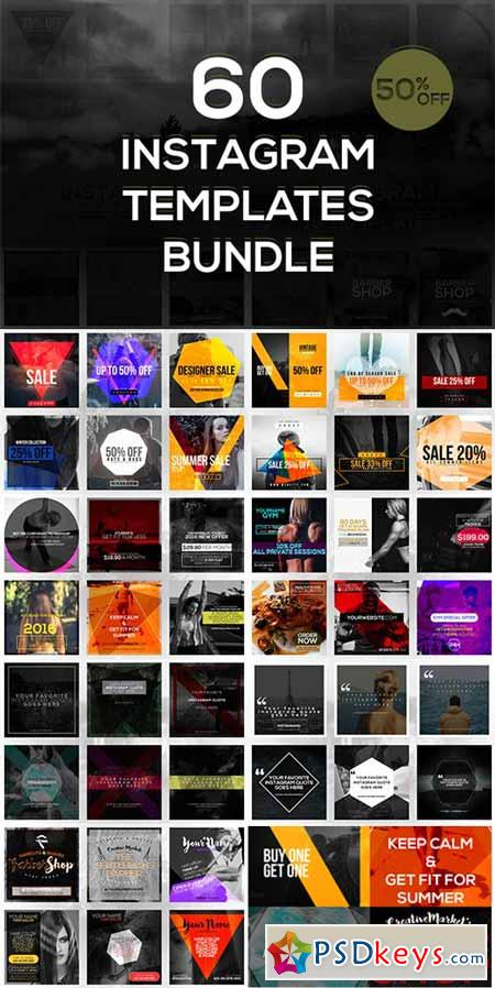 60 Instagram Templates Bundle 483862 » Free Download Photoshop ...