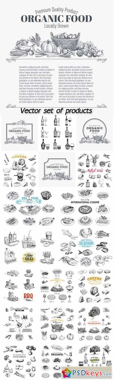 Vector set of products, seafood, meat, vegetables, drinks, fast food