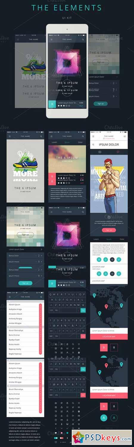 Phone GUI Template. Wireframe UI Kit 485660