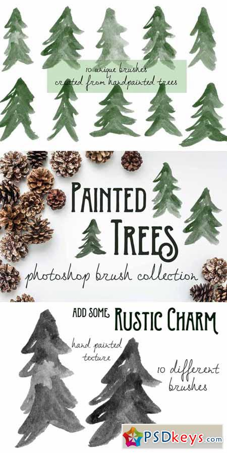 Painted Pine Trees - PS Brushes 394883
