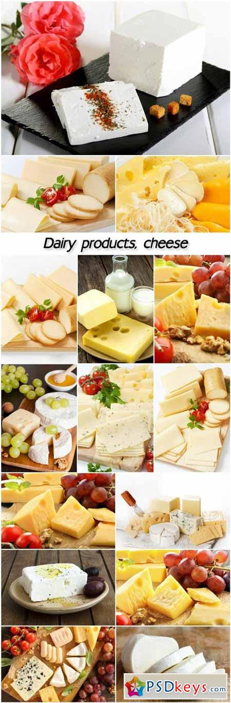 Dairy products, cheese, cottage cheese, feta cheese
