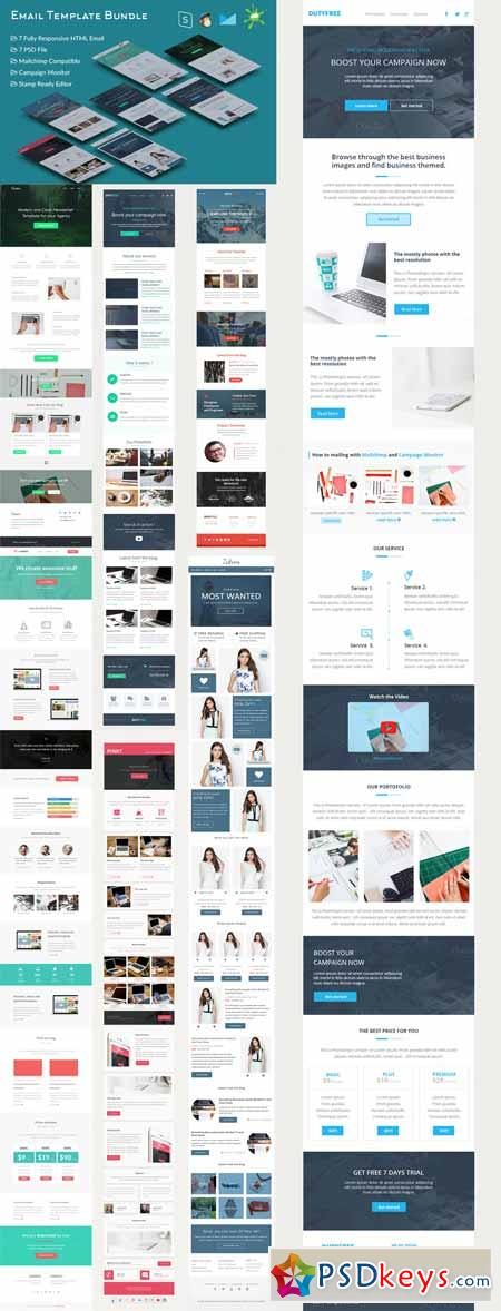 Responsive Email Template Bundle   Free Download Photoshop
