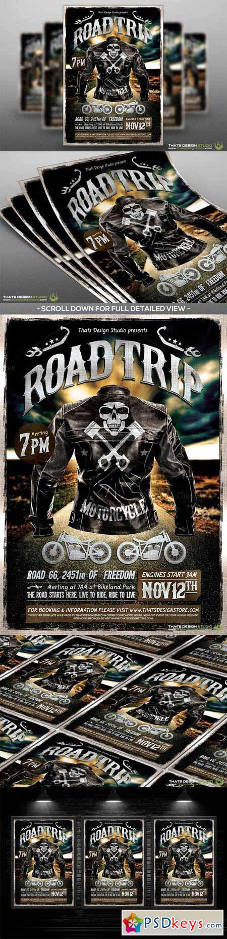 motorcycle road trip flyer template 486776 free download photoshop
