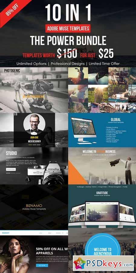 Adobe Muse Bundle - 10 Templates 491626 » Free Download Photoshop