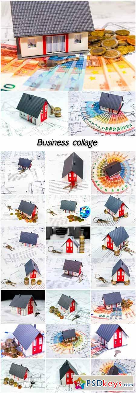 Business collage, house, money, projects