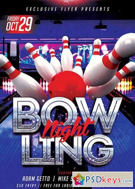 Bowling Premium Flyer Template  Facebook Cover  Free Download