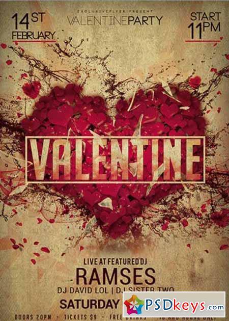 Valentine Party Night Premium Flyer Template Free Download