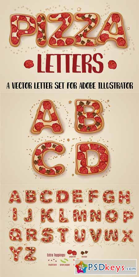 Hand Drawn Pizza Letters 488309
