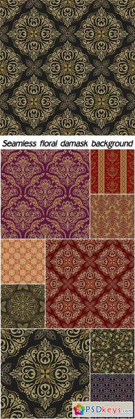 Seamless floral damask background vector, victorian style » Free