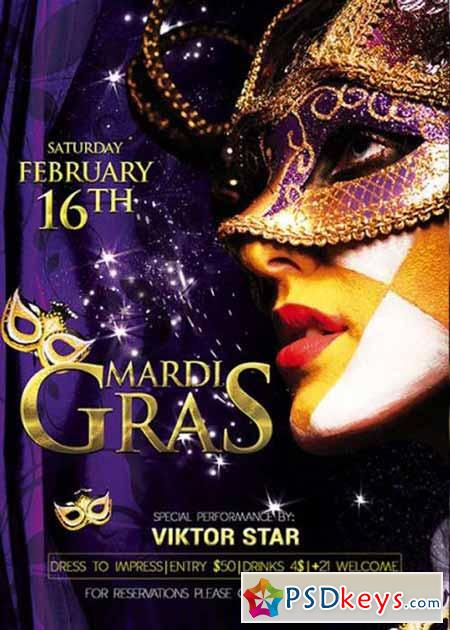 Mardi Gras Carnival Premium Flyer Template Free Download Photoshop