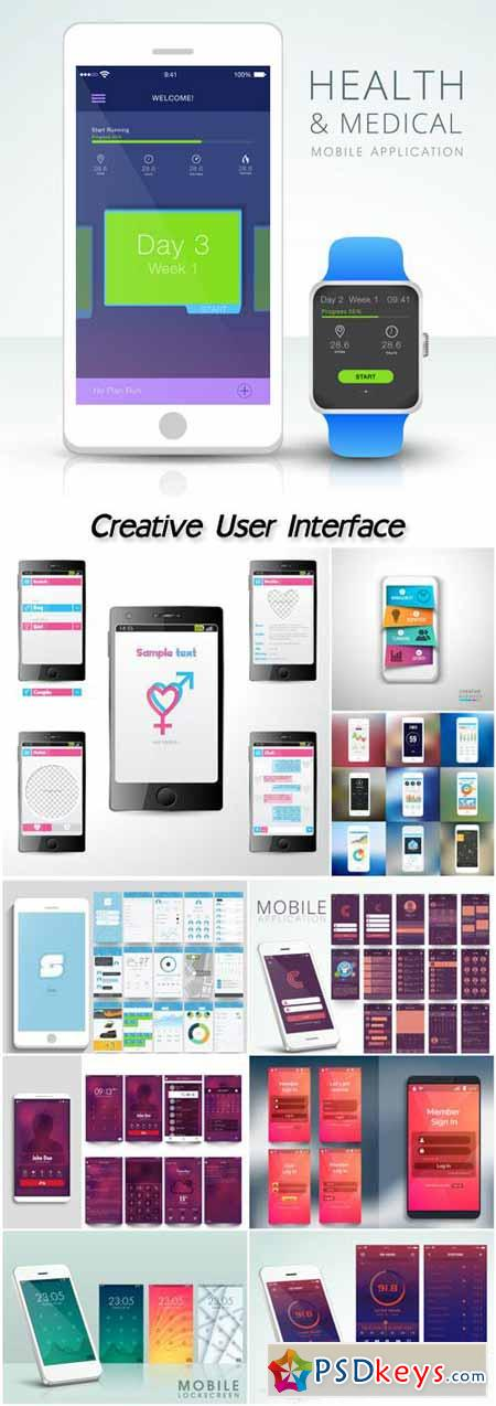 Creative user interface kit with different mobile application screens presentation