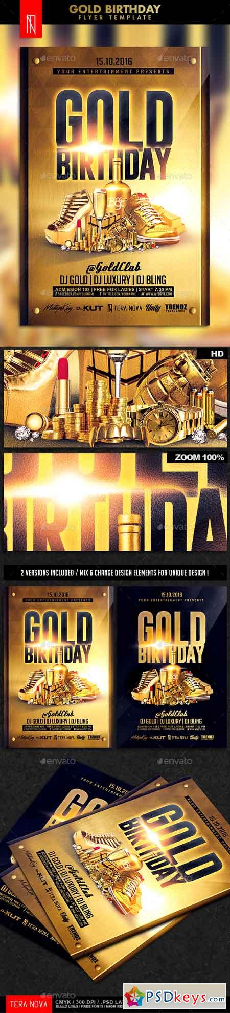 Gold Birthday Bling Bling Flyer Template