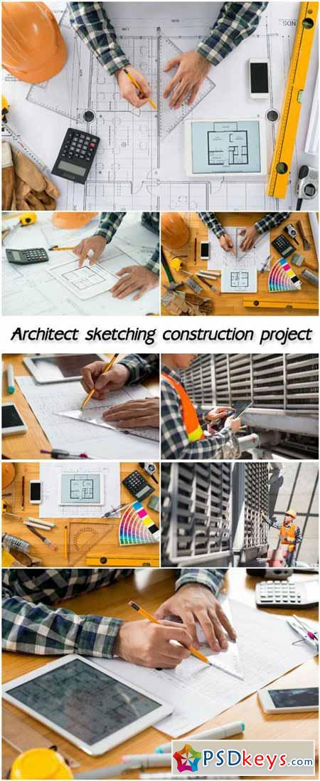 Architect sketching construction project