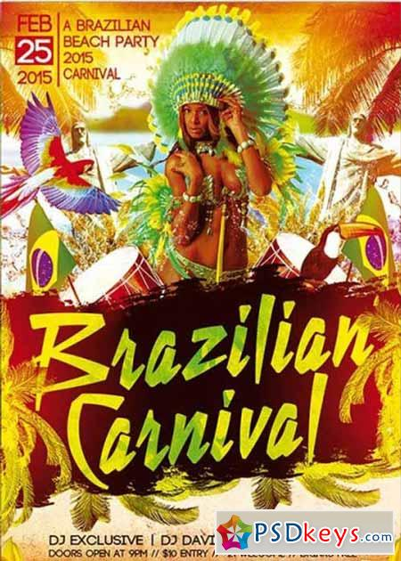 brazilian carnival party premium flyer template free download