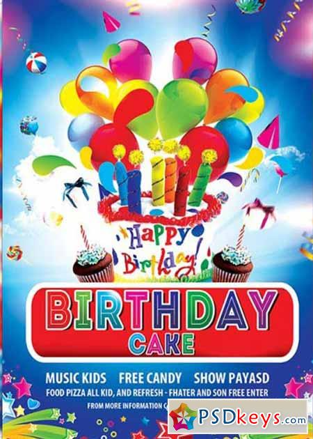 Birthday Cake Premium Flyer Template + Facebook Cover  Birthday Flyer Templates Free