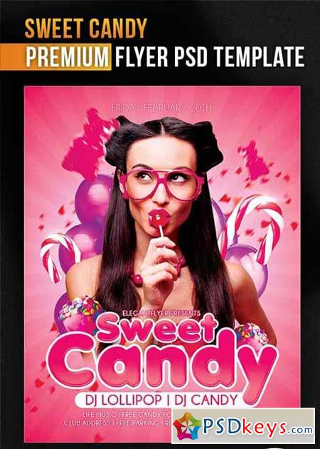 sweet candy flyer psd template   facebook cover  u00bb free