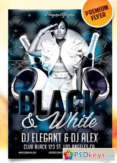 Black And White Party Flyer Psd Template Facebook Cover Free