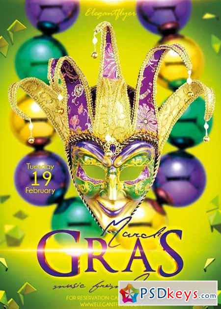 mardi gras v02 flyer psd template + facebook cover » free download, Powerpoint templates
