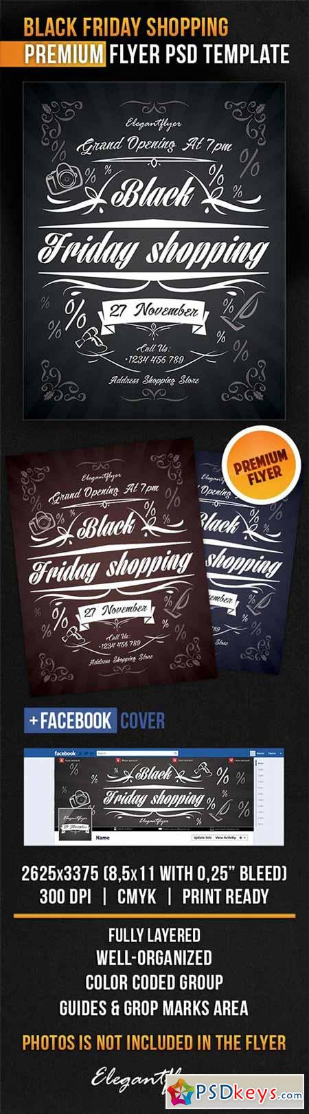 black friday shopping flyer psd template facebook cover free download photoshop vector stock. Black Bedroom Furniture Sets. Home Design Ideas