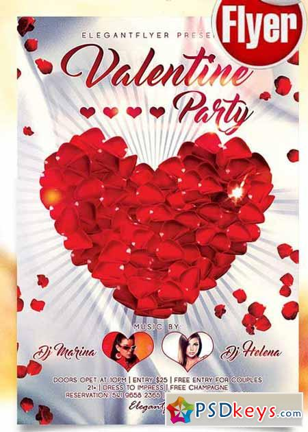 Valentines Day Party V3 Flyer PSD Template + Facebook Cover