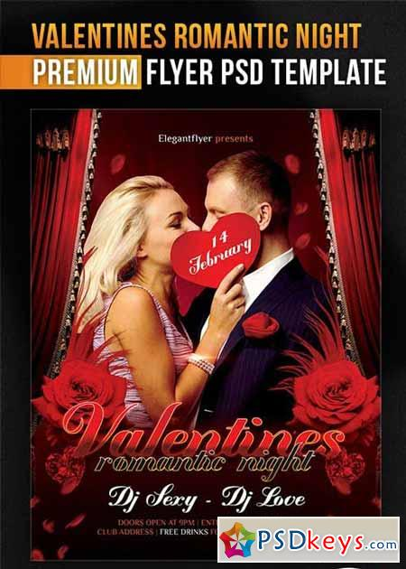 Valentines Romantic Night Flyer PSD Template + Facebook Cover