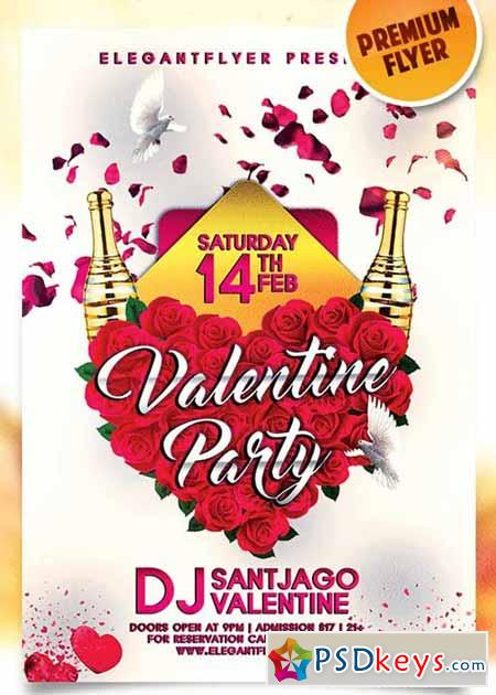 Valentines Party Night Flyer PSD Template + Facebook Cover
