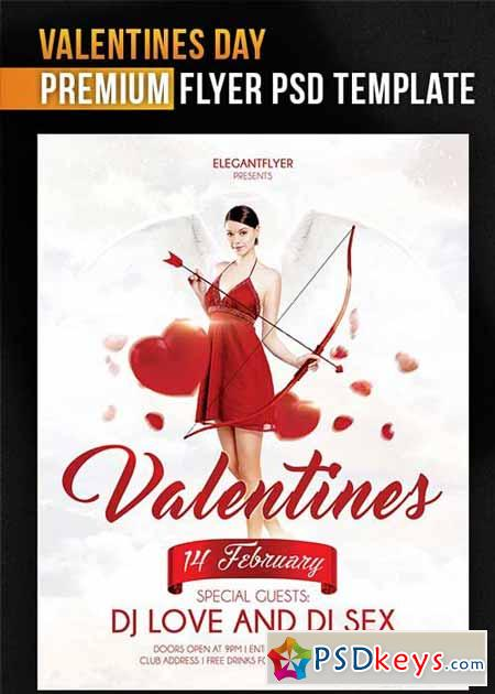 Valentines Day Flyer PSD Template + Facebook Cover