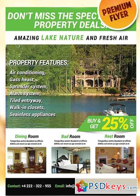 Lakefront Property Flyer PSD Template + Facebook Cover » Free ...