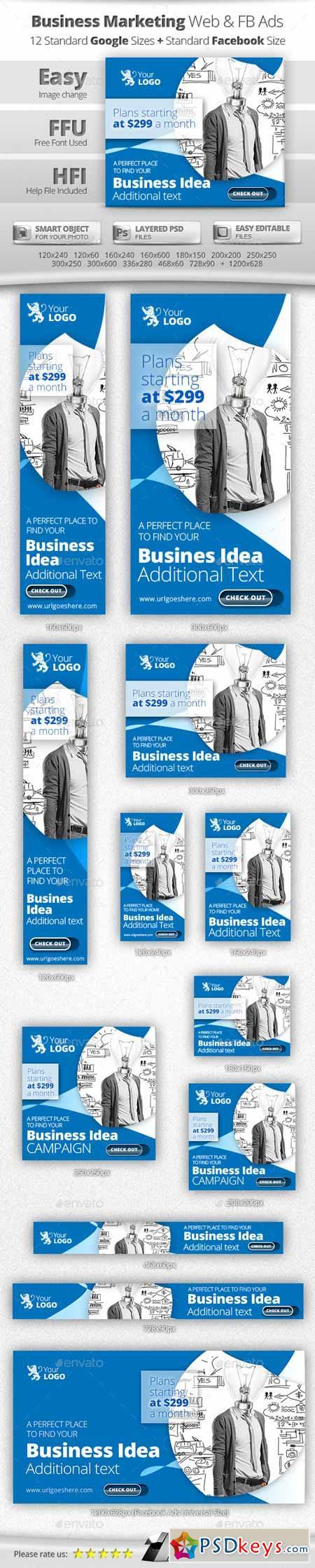 Business Online Marketing Web & Facebook Banners 11459249