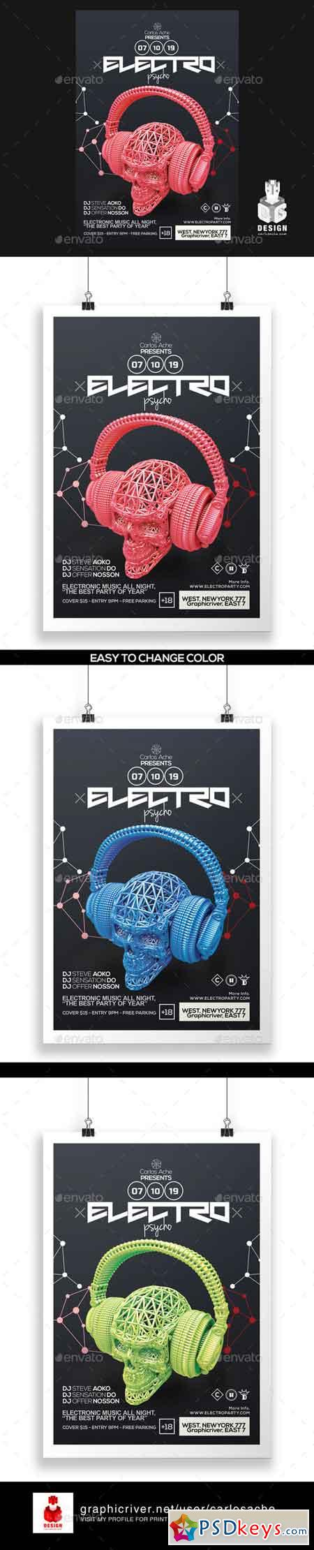 Electro Psycho Poster - Flyer Template 12145305