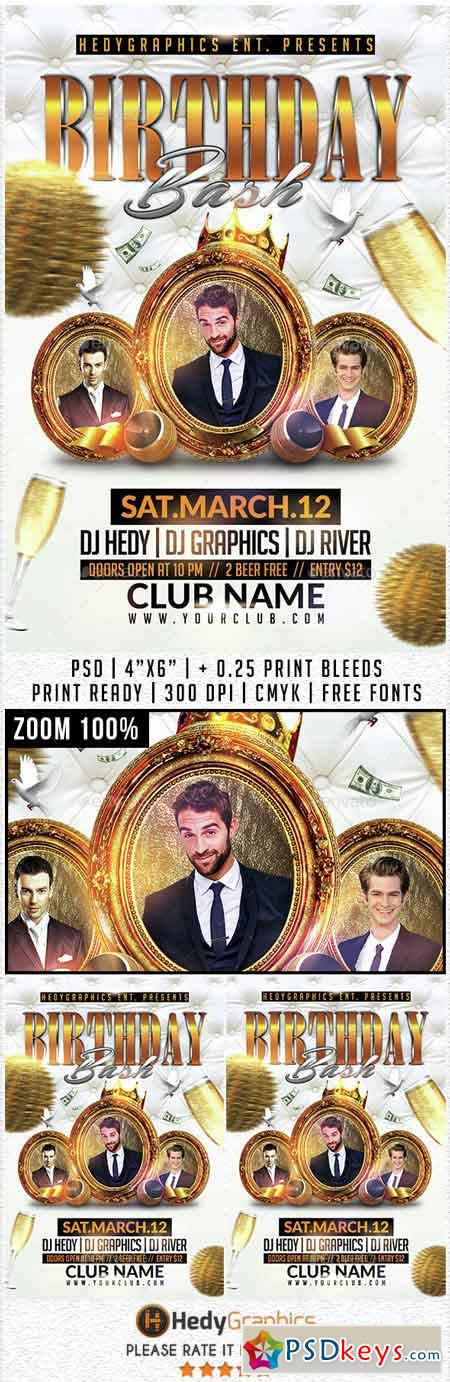 Birthday Bash - Flyer Template 14731362 » Free Download Photoshop