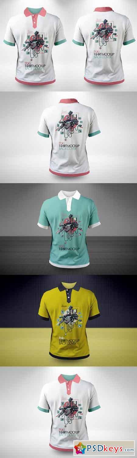 Polo T-shirt Back & Front Mock-ups 523564