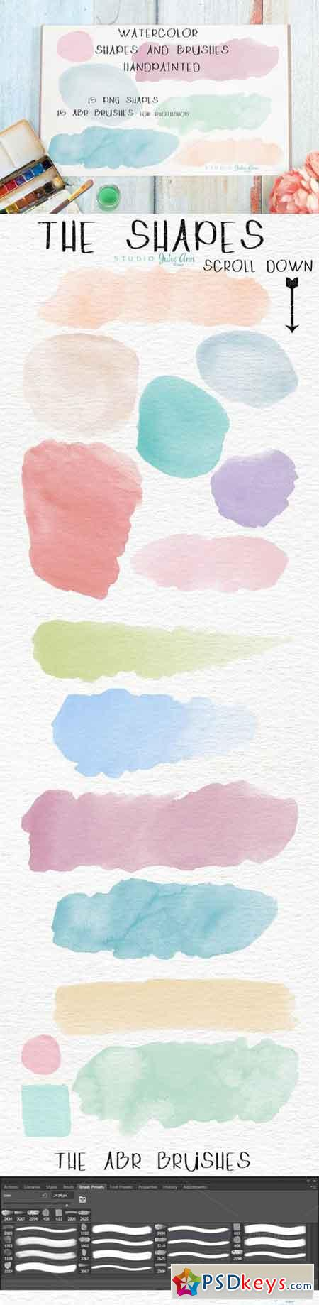 Watercolor Shapes Splotches Brushes 501495