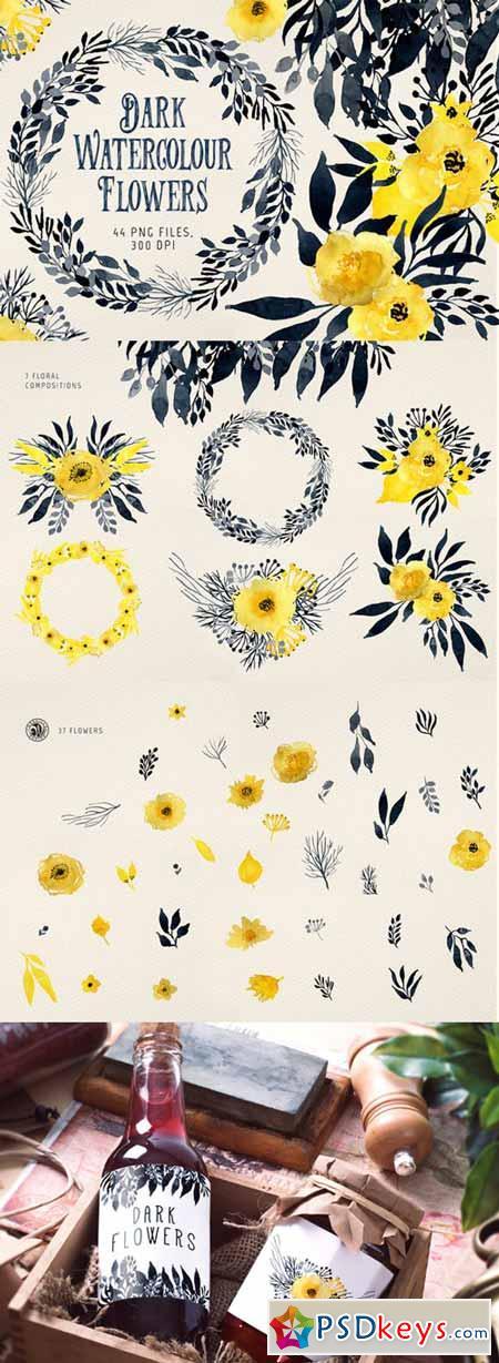 Dark Watercolour Flowers 475301