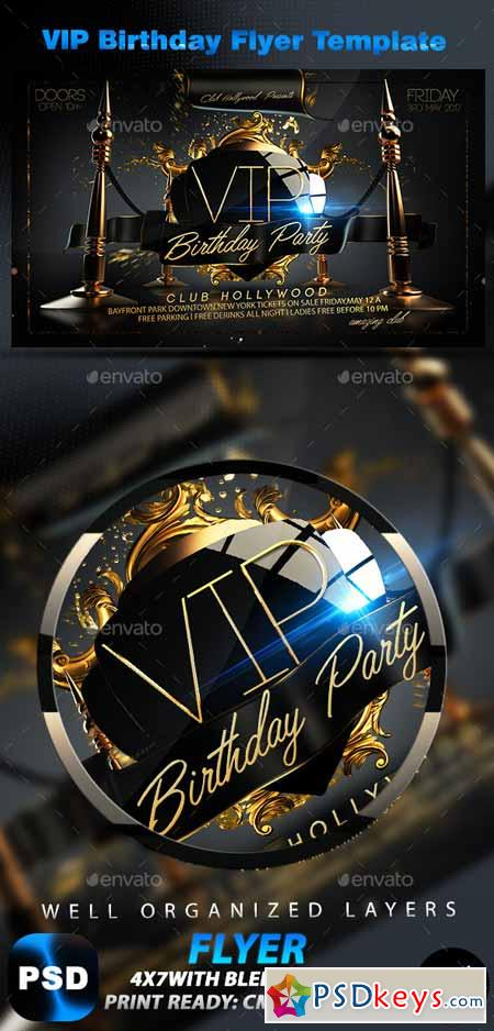 Vip Birthday Flyer Template 10158634 Free Download Photoshop
