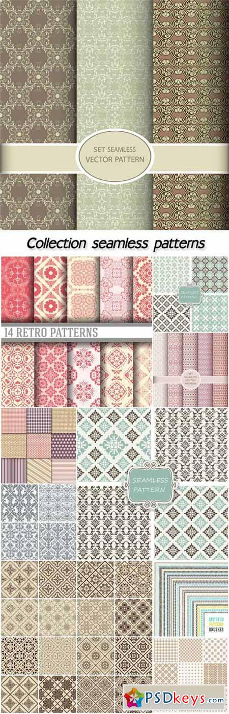 Collection of geometric seamless patterns, vector backgrounds