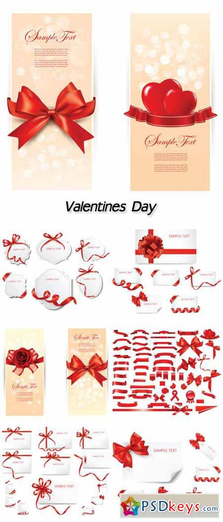 Collection ribbon banner, valentine day collection card