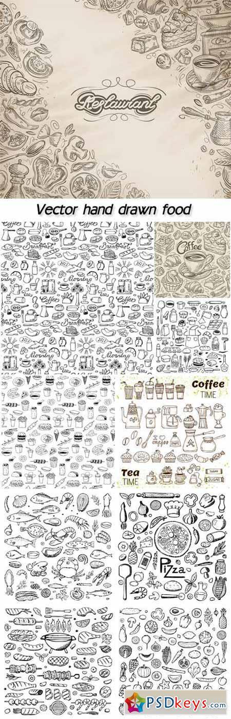Vector hand drawn dessert, bakery elements, breakfast seamless pattern
