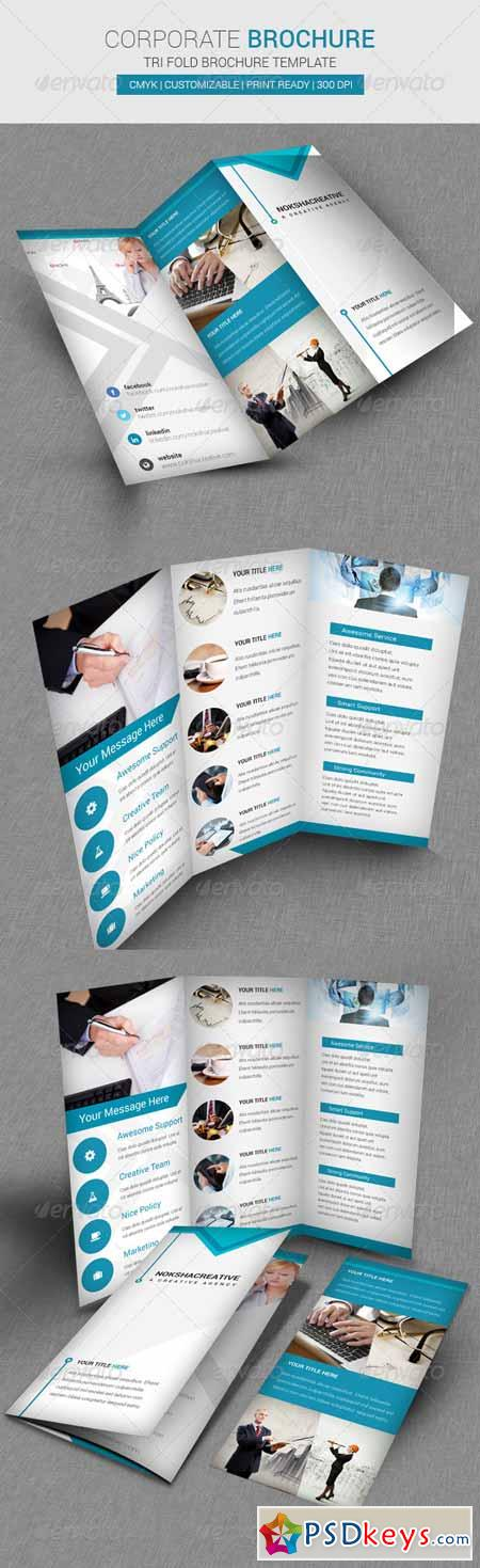 Corporate Tri Fold Brochure Template Free Download - Psd tri fold brochure template